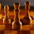 Wooden aged chess set — Stock Photo