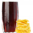 Chips and cola glass — Stock Photo