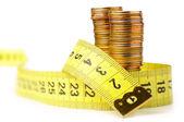 Mynt med meter isoleras på vit — Stockfoto