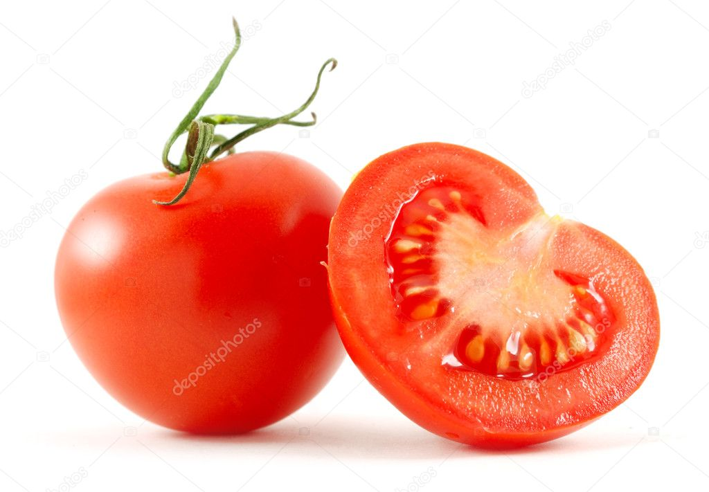 Two tomatoes isolated on white — Stock Photo #3203042