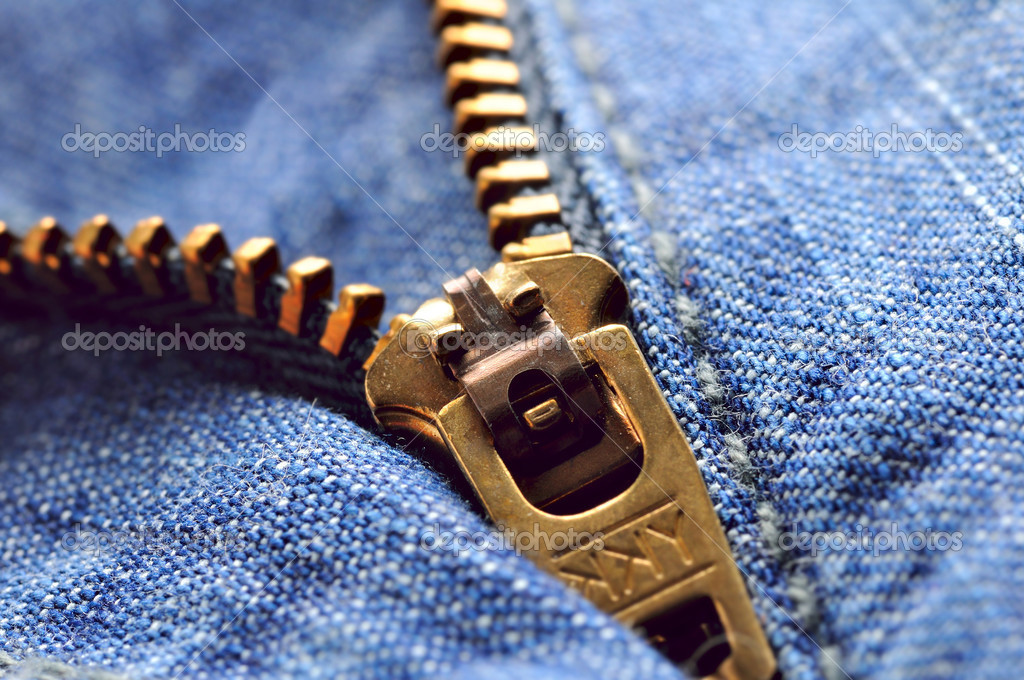Jeans zipper closeup, shallow dof — Stock Photo #3204309