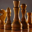 Wooden aged chess pieces set — Foto de stock #3273459
