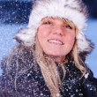 Stock fotografie: Beautiful young woman in snowy winter