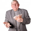Elderly man with money in hands — Stock Photo