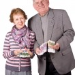 Elderly married couple with money — Stock Photo #3231703