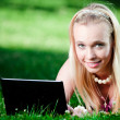 Royalty-Free Stock Photo: Young woman using laptop in park