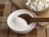Fresh sour cream and quark — Stock Photo