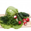 Stock Photo: Fresh green-stuffs on cutting board