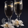 Stock Photo: Glasses and weddings buttonholes