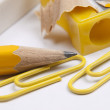Eraser,  pencil and  pencil yellow sharpener — Stock Photo