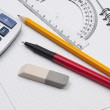 Set of tools for drawing on the workbook page — Stock Photo #3711394