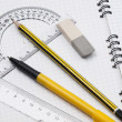 Set of tools for drawing on the workbook page — Stock Photo #3711403