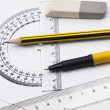 Set of tools for drawing on the workbook page - Stock Photo