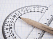 Tools for drawing on the workbook page — Stock Photo