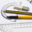 Set of tools for drawing on the workbook page — Stock Photo #3738900
