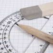Tools for drawing on the workbook page — Stock Photo #3738922
