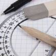 Tools for drawing on workbook page — Stock Photo #3738980
