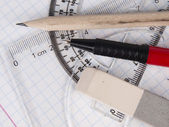 Set of tools for drawing on the workbook page — Stock Photo