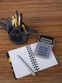 Desk organizer with office tools — Stock Photo