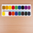 Set of watercolors  and  paintbrush — Stock Photo