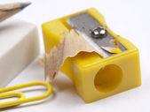 Shot of eraser, pencil and yellow sharpener — Stock Photo