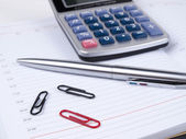Business diary, pen and calculator — Stock Photo