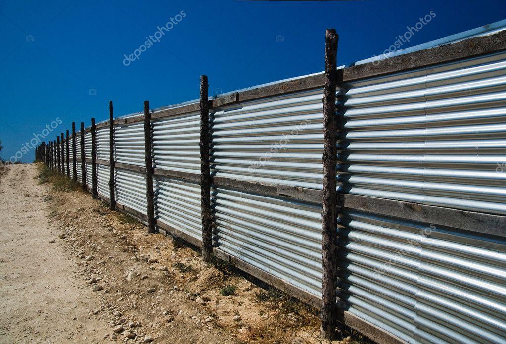 Corrugated Metal Fence Image - FeaturePics.com - A stock image