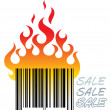 Stock Vector: Barcode in fire