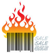 Barcode in fire — Stock Vector