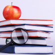 Ripe apple on stack of books — Stock Photo