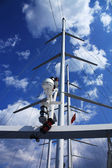 Mast of the walking sea yacht — Stock Photo