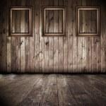 interior de madera con los marcos — Foto de Stock