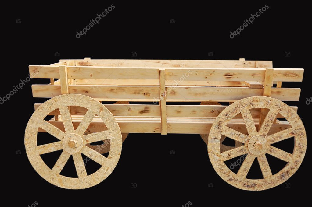 New wooden cart isolated on black background — Stock Photo #2794403