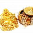 God of wealth and gold ornaments — Stock Photo