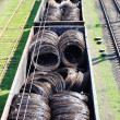 Railway cars loaded with wire — Stock Photo