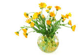 Marigold flowers in a vase with colorful crystal beads — Stock Photo