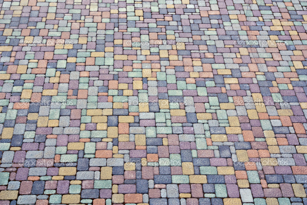 Closeup of modern cobblestone road — Stock Photo #3472350