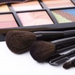 Brushes to make-up and eye shadow — Stock Photo