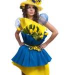 kobieta moda jest bukiet kwiatów — Zdjęcie stockowe