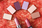 Eye shadow and lipsticks — Stok fotoğraf
