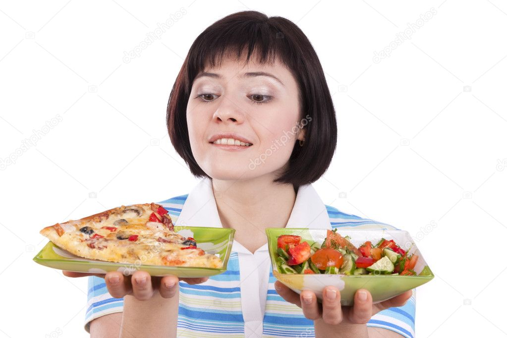 Woman makes choice between pizza and healthy salad on white background.  To eat or not to eat — Photo #2771772