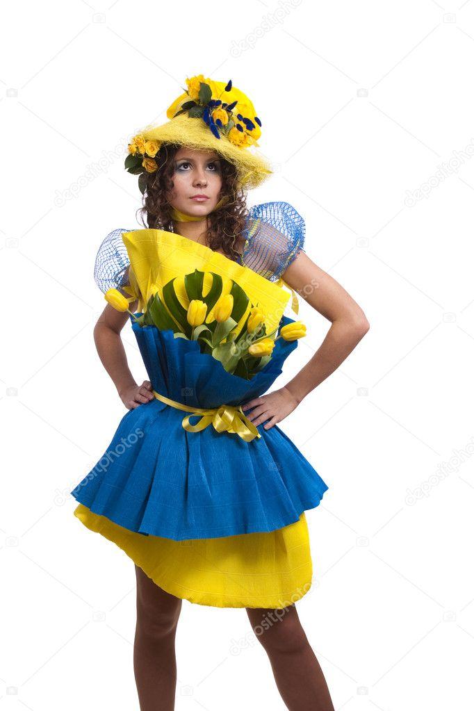 Платье из гофрированной бумаги своими руками на конкурс для девочки 50