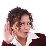 biznes kobieta słuchania plotek — Zdjęcie stockowe
