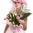 Fashion woman is bunch of flowers. — Stock Photo