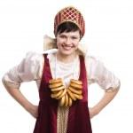 ekmek-halka ile russiancostume kadın — Stok fotoğraf