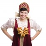 žena v russiancostume s chlebem ring — Stock fotografie