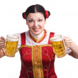 German/Bavarian woman with beer — Stock Photo