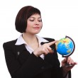 Businesswoman holding Earth globe — Stock Photo