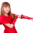 Girl is wearing red dress and gloves. — Stock Photo