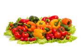 Vegetables on leaf lettuce — Stock Photo
